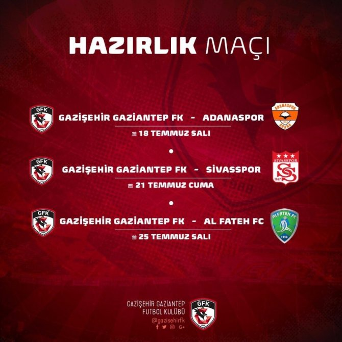Gazişehir Gaziantep'in hazırlık maçları belli oldu