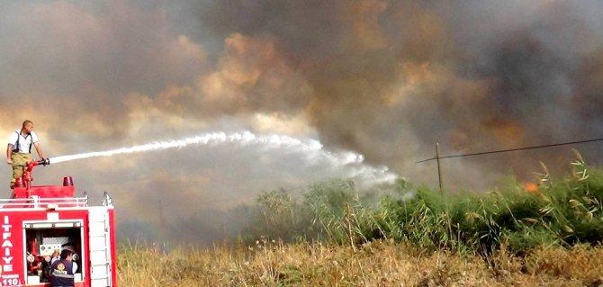 Sazlıkta çıkan yangın korkuya neden oldu