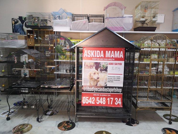 Sokak hayvanları için esnaftan askıda mama projesi