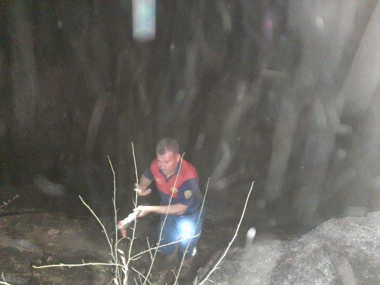 Karpuzlu'da çalılık yangını