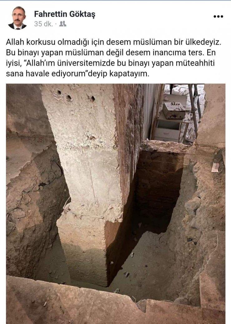 """Kayık kolonu gören rektörden tepki: """"Allah'ım bu binayı yapan müteahhidi sana havale ediyorum"""""""