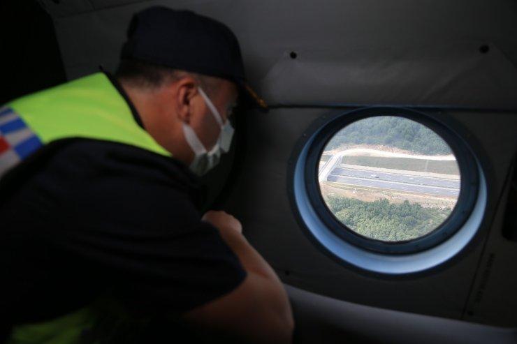 Kurban Bayramı tatilinin son gününde Kuzey Marmara Otoyolu'nda helikopterli denetim
