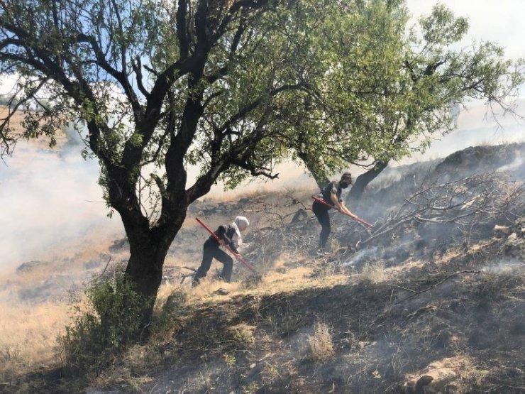 Anız yangınına kadın itfaiyeci müdahalesi