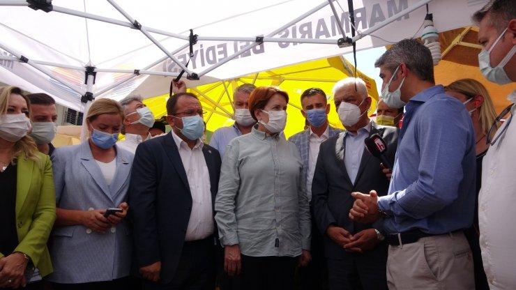 İYİ Parti Genel Başkanı Akşener orman yangınının sürdüğü Marmaris'te