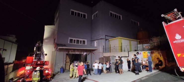 Hadımköy'deki ambalaj fabrikasında çıkan yangın paniğe sebep oldu