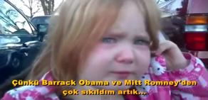 Obama-Ramney Çekişmesi Küçük Kızı Ağlattı
